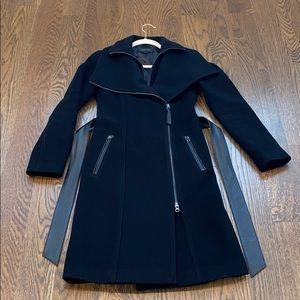 Mackage Nori wool coat with leather belt